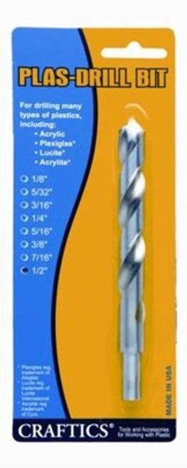 "CRAFTICS® AC55-3/16"" Acrylic®, Plexiglass®, Lucite® & Acrylite® 90° Point, 0° Rake PLAS-DRIL BIT™"