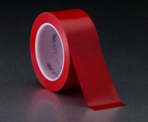 """3M™ 021200-05108 Red 471 Vinyl 5.2 Mil Tape - 1/4"""" x 36 Yard Roll"""