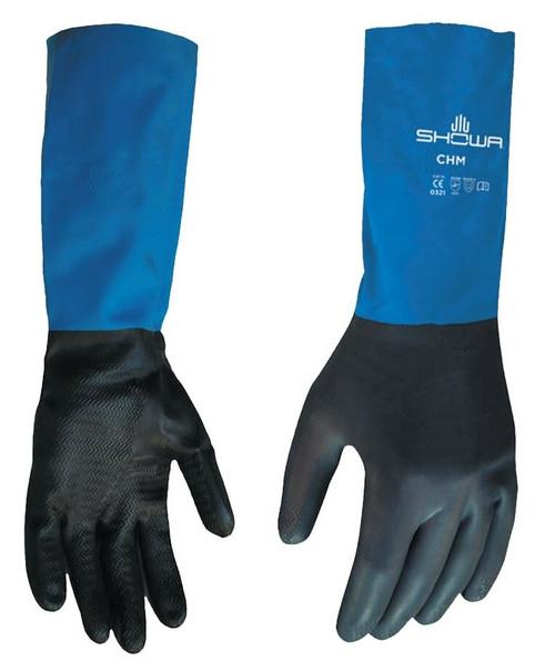 SHOWA® CHMM-08 Black/Blue Medium Neoprene on Latex Straight Cuff Chemical Resistant Gloves