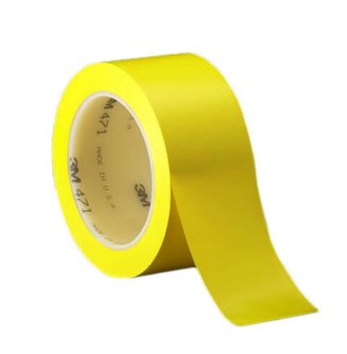 "3M™ 021200-03129 Yellow 471 Vinyl 5.2 Mil Tape - 1-1/2"" x 36 Yard Roll"