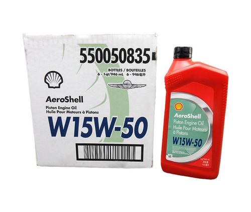 AeroShell™ Oil 15W-50 Semi-Synthetic Aircraft Piston Engine Oil - 6 Quart/Case