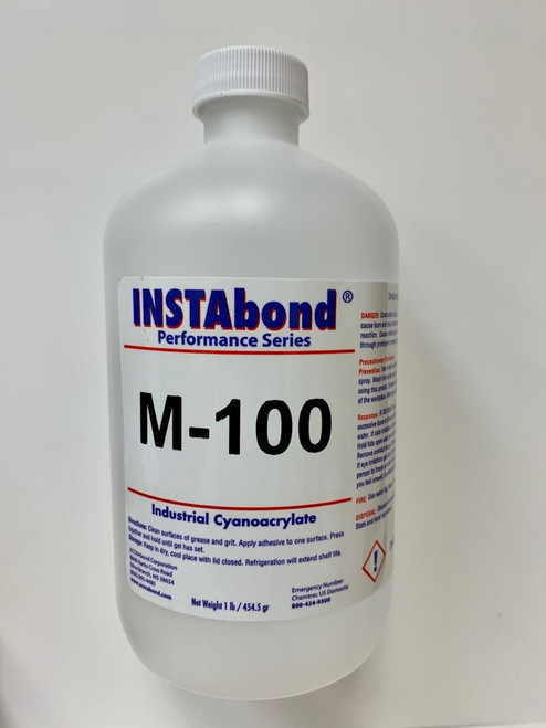 INSTAbond® M-100 Clear A-A-3097 Type 1 Class 2 Cyanoacrylate Adhesive - 16 oz Bottle