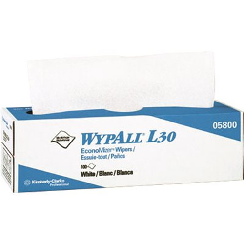 """WypAll® 05800 L30 White DRC Bonded Cellulose 16.4"""" x 9.8"""" General Purpose Wiper Towels - 100 Wipe/Pop-Up Box"""