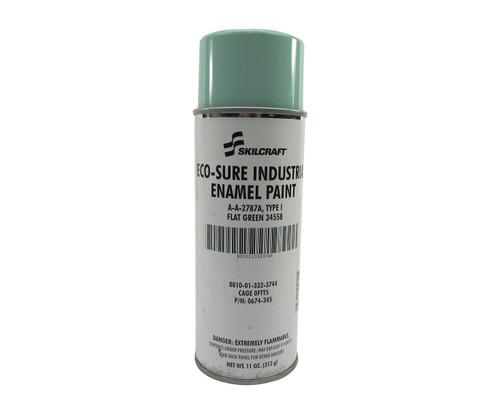 Skilcraft® 0674-345 ECO SURE® FS 34558 Flat Green A-A-2787A Type I Spec Industrial Enamel Paint - 11 oz Aerosol Can