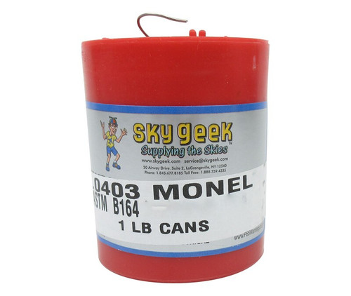 """Military Standard MS20995NC25 Monel 0.025"""" Diameter Safety Wire - 1 lb Roll"""