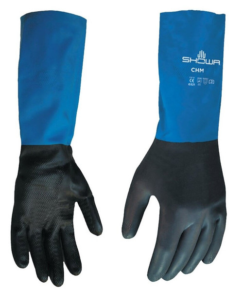SHOWA® CHMS-07 Black/Blue Small Neoprene on Latex Straight Cuff Chemical Resistant Glove - Pair