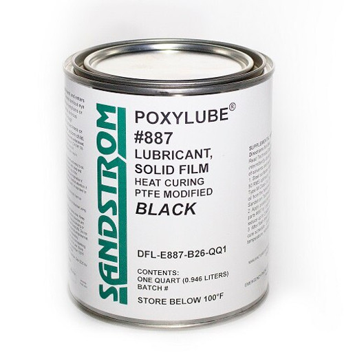 Sandstrom Poxylube® #887 Black PTFE Heat Cure Satin Texture Dry Film Lubricant - Quart Can
