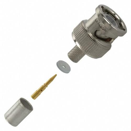 TE Connectivity 1-5221128-1 Brass/Nickle RG-59, RG-59A, RG-59B, RG-62 BNC Male Straight Connector, Plug, Electrical