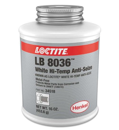 Henkel 34518 LOCTITE® LB 8036™ White Hi-Temp Anti-Seize - 453.6 Gram (16 oz) Brush-Top Jar