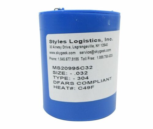 """Military Standard MS20995C32 Stainless Steel 0.032"""" Diameter DFAS Compliant Safety Wire - 1 lb Roll"""