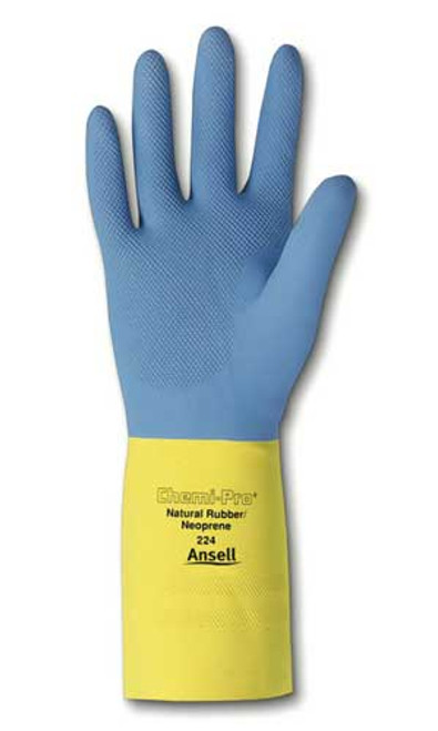 Ansell 224-7 Chemi-Pro® Blue/Yellow Cotton Lined Diamond Embossed Grip Latex/Neoprene Gloves - 1 Pair