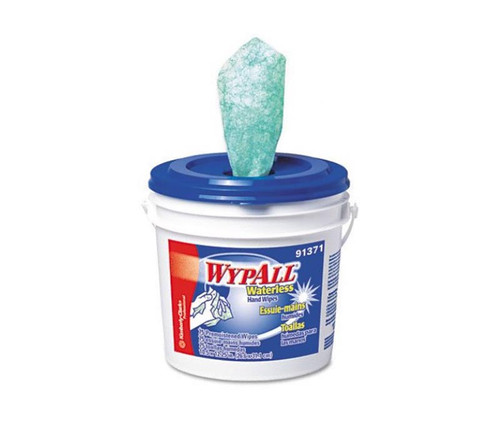 """WypAll® 91371 Blue 9.75"""" x 12"""" Waterless Industrial Cleaning Wipes - 75 Wipes/Bucket"""