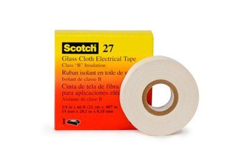 "3M™ 054007-15074 Scotch® 27 White 7 Mil Glass Cloth Electrical Tape - 3/4"" x 50 Yard Roll"