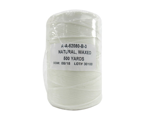Military Specification A-A-52080-B-3 Natural DFAS Compliant Nylon/Waxed Finish Tape, Lacing & Tying Cord - 500 Yard Spool