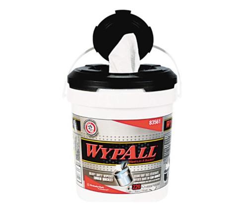 "WypAll® 83561 X70 White 9.75"" x 13"" Wiper in a Bucket - 220 Wipes/Bucket"