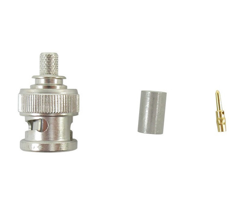 TE Connectivity 5225395-6 Brass/Nickle RG-142, A, B & RG-400 Male Crimp BNC Connector, Plug, Electrical