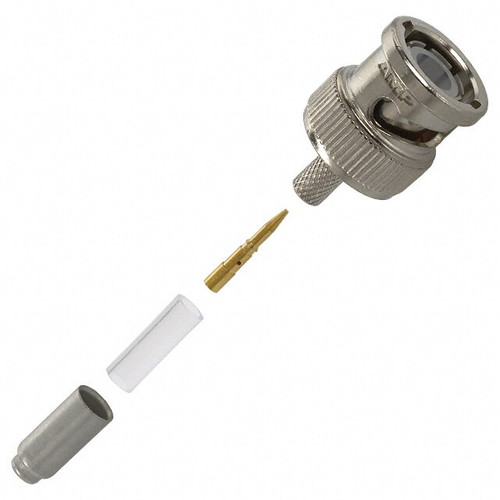 TE Connectivity 2-5221128-1 Brass/Nickle RG-174, RG-188, RG-316 BNC Male Straight Connector, Plug, Electrical