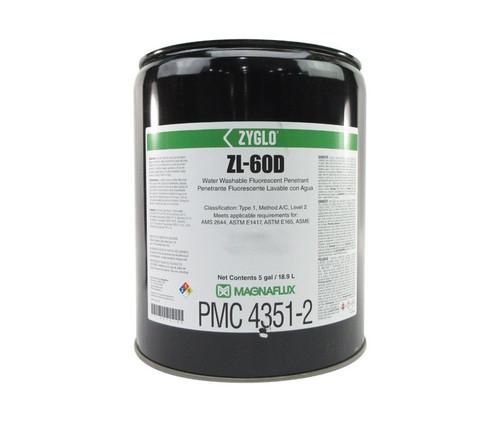 MAGNAFLUX® 01-3272-40 ZYGLO® ZL-60D Level 2 Water Washable Fluorescent Penetrant - 5 gal / 18.9 L Pail