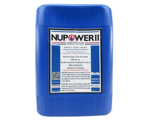 Nuvite PC21905 NuPower II Waterless Cleaning Aircraft Dry Wash/Polish Paint Protectant - 5 Gallon Pail