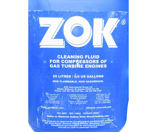 ZOK mx Concentrated Clear MIL-PRF-85704C/MSSR 9914 Spec Turbine Engine Compressor Cleaner - 25 Liter (6.6 Gallon) Pail