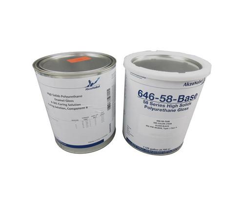 AkzoNobel 646-58-7038/X-501 FS#17038 Black MIL-PRF-85285E Type I, Class H Spec Chemical Resistant Military Polyurethane Topcoat - 2 Gallon Kit