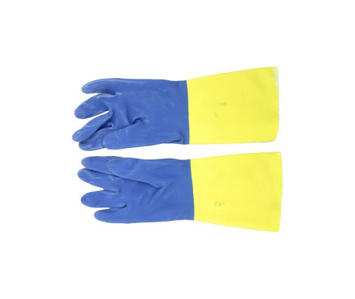 Ansell 224-8 Chemi-Pro® Blue/Yellow Cotton Lined Diamond Embossed Grip Latex/Neoprene Gloves - 1 Pair