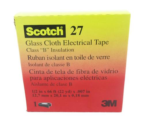 "3M™ 054007-15066 Scotch® 27 White 7 Mil Glass Cloth Electrical Tape - 1/2"" x 66' Roll"