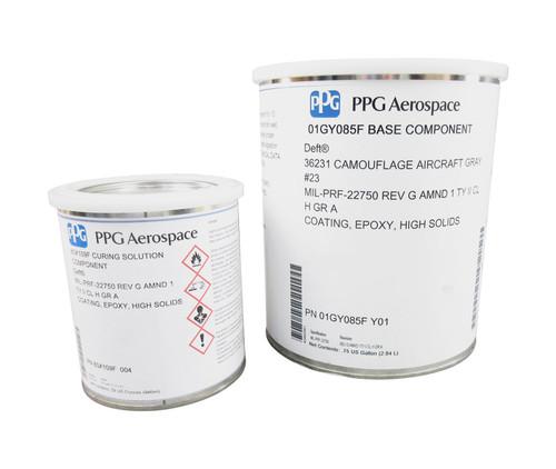 PPG Aerospace® Deft® 01-GY-085F FS#36231 Flat Gray MIL-PRF-22750G Type II, Class H, Grade A Spec High-Solids Epoxy Topcoat - Gallon Kit