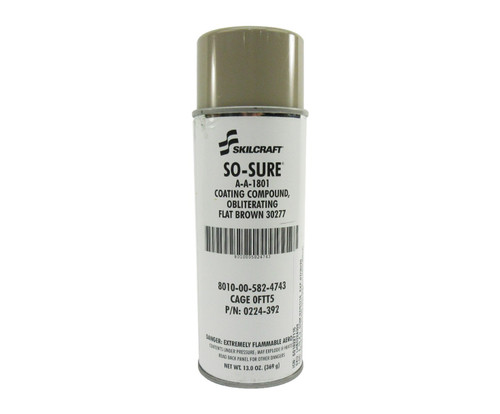 Skilcraft® 0224-392 SO SURE® FS#30277 Flat Brown A-A-1801 Obliterating Coating Compound - 10 oz Aerosol Can