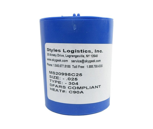 """Military Standard MS20995C25 Stainless Steel 0.025"""" Diameter DFAS Compliant Safety Wire - 1 lb Roll"""