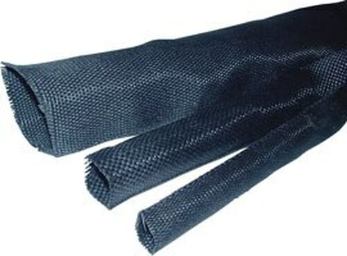 ICO-Rally HSF-12/6 Black Fabric Heat Shrink Tubing - 1 ft Length (50 ft increments)