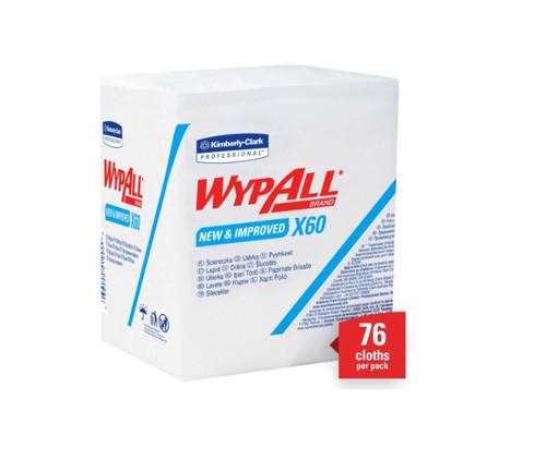 "WypAll® 34865 X60 White 12.5"" x 12"" Washcloth - 76 Cloth/Pack"