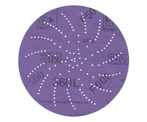 """3M™ 051141-20824 Hookit™ 360L Purple 3"""" P320 Grit Sanding Disc - 100 Discs/Pack"""