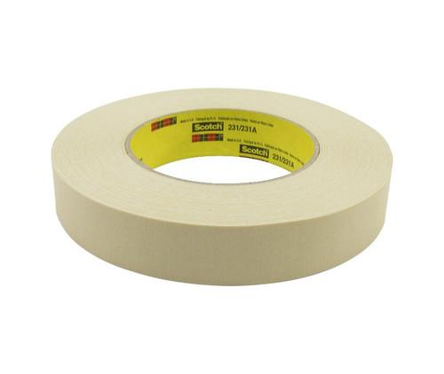 3M™ 021200-03777 Scotch® 231/231A Tan 7.6 Mil Paint Masking Tape - 24 mm x 55 m Roll