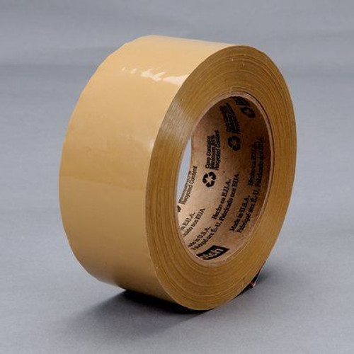 3M™ 021200-18197 Scotch® 371 Tan 1.8 Mil Box Sealing Tape - 72 mm x 50 m Roll