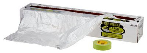 """3M™ 051131-06728 Clear Premium Plastic Sheeting with 233+ Green Masking Tape (36mm) - 16"""" x 350' Roll"""