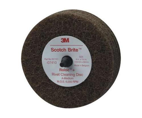 """3M™ 051131-07410 Scotch-Brite™ Brown 4"""" Medium Rivet Cleaning Disc - 10 Discs/Case"""