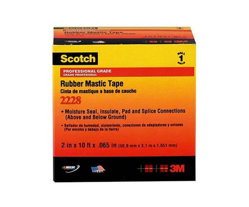 "3M™ 054007-50727 Scotch® 2228 Black 65 Mil Rubber Mastic Tape - 1"" x 10' Roll"