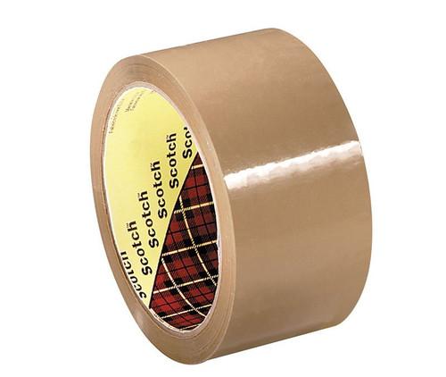 3M™ 021200-61525 Scotch® 371 Tan 1.8 Mil Box Sealing Tape - 72 mm x 100 m Roll
