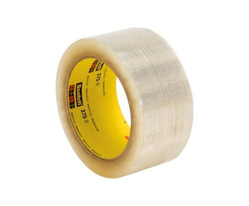 3M™ 021200-72406 Scotch® 375 Clear 3.1 Mil Box Sealing Tape - 48 mm x 50 m Roll