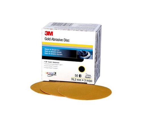 """3M™ 051131-00917 Hookit™ 236U Gold 3"""" P180 Grit Abrasive Disc - 4 Boxes/Case"""