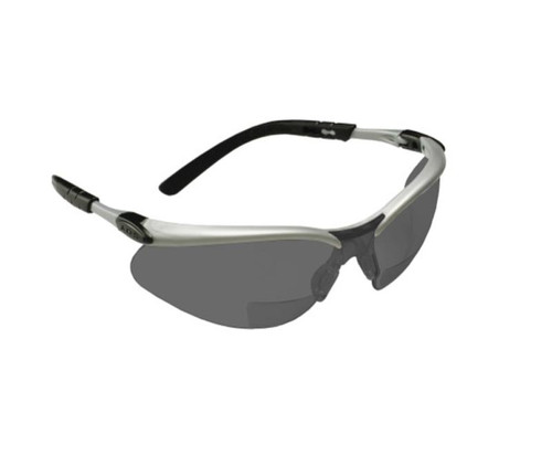3M™ 078371-62049 BX Protective Eyewear - Silver Frame - Gray Lens - 1.5 Diopter