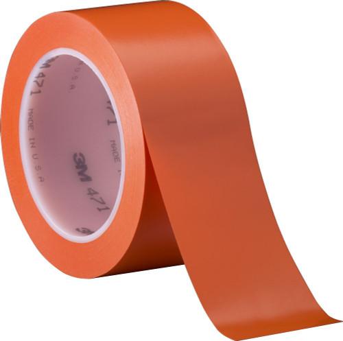 "3M™ 021200-04312 Orange 471 Vinyl 5.2 Mil Tape - 2"" x 36 Yard Roll"
