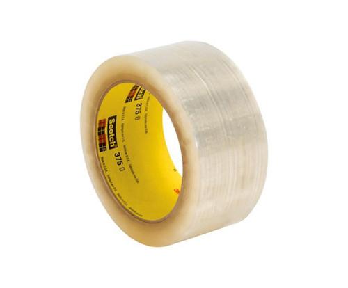 3M™ 051115-68765 Scotch® 375 Clear 3.1 Mil Box Sealing Tape - 72 mm x 50 m Roll
