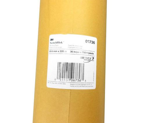 "3M™ 051131-06736 Scotchblok™ Gold 2 mil Masking Paper - 36"" x 750' Roll"