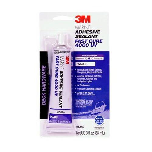 3M™ 051135-05280 White 4000UV Marine Adhesive Sealant - 3 oz Cartridge - 6/Case