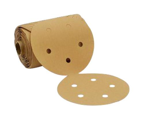 "3M™ 051144-88707 236U Gold 5"" P500 Grit Aluminum Oxide Disc Roll - 100 Discs/Roll"
