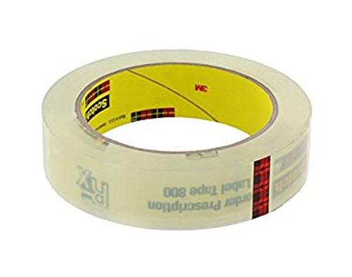 """3M™ 021200-03551 Scotch® 800 Clear 2.5 Mil Prescription Label Tape - 1"""" x 72 Yard Roll"""