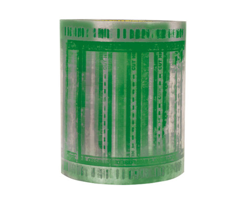 """3M™ 076308-86376 Scotch® 824RCT Clear/Green Pouch Tape - 6"""" x 5"""" Roll"""