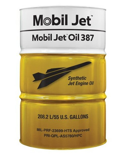 Exxon Mobil Jet™ Oil 387 Orange MIL-PRF-23699 Spec Aircraft-Type Gas Turbine Oil - 55 Gallon (206.9 Kg) Drum